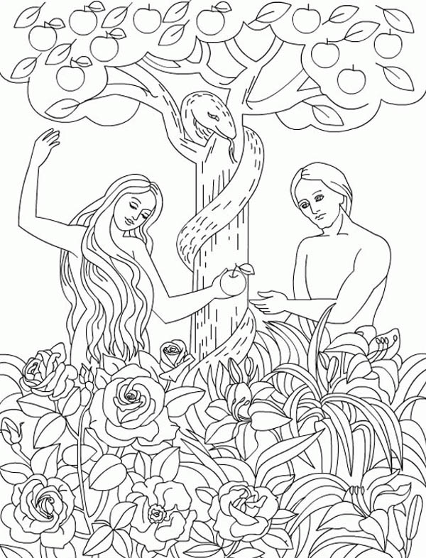 The Serpent Temp Adam And Eve To Eat Forbidden Fruit In Garden Of Eden Coloring Page