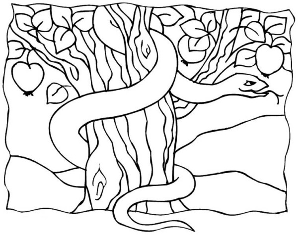 The serpent in garden of eden coloring page netart for Garden of eden coloring page