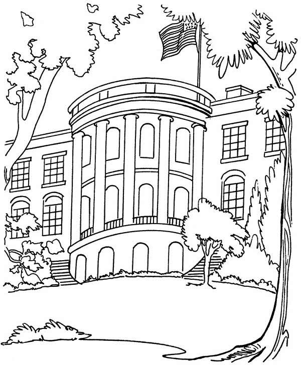 The White House in Houses Coloring Page NetArt