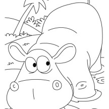 Thirsty Hippo Drink in the Lake Coloring Page