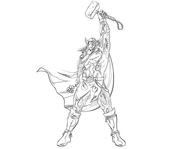 Thor Winning Sign Coloring Page  NetArt