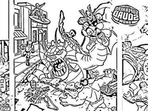 Thor vs Villain in Super Hero Squad Coloring Page NetArt