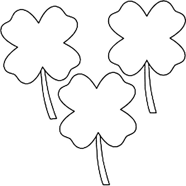 Three Four Leaf Clover For Lucky Charm Coloring Page