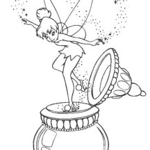 Tinkerbell Came Out from Bottle Coloring Page