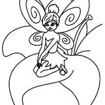 Tinkerbell Sitting on the Flower Coloring Page