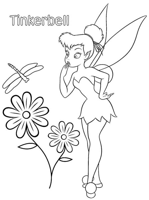 tinkerbell and flower and dragonfly coloring page - Dragonfly Coloring Page