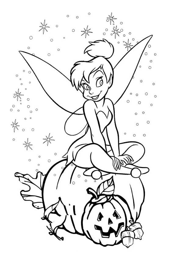 Here  Home Tinkerbell Tinkerbell and Halloween Pumpkin Coloring PageTinkerbell Halloween Coloring Pages