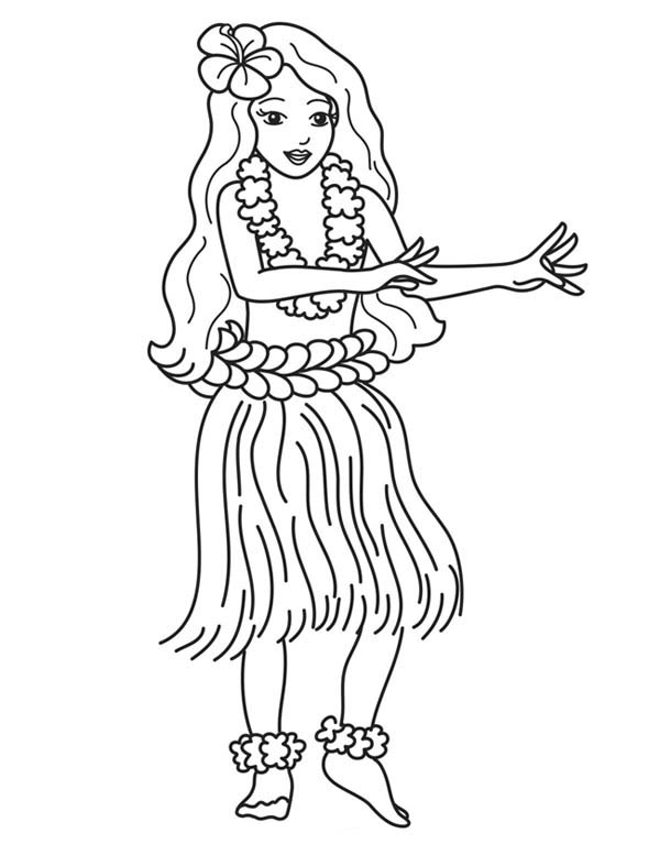Free Coloring Pages Of Hula Dancer Hula Coloring Page