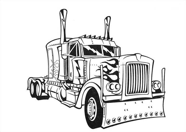 transformers optimus prime semi truck coloring page