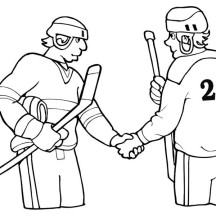 Two Hockey Player Shaking Hand Coloring Page