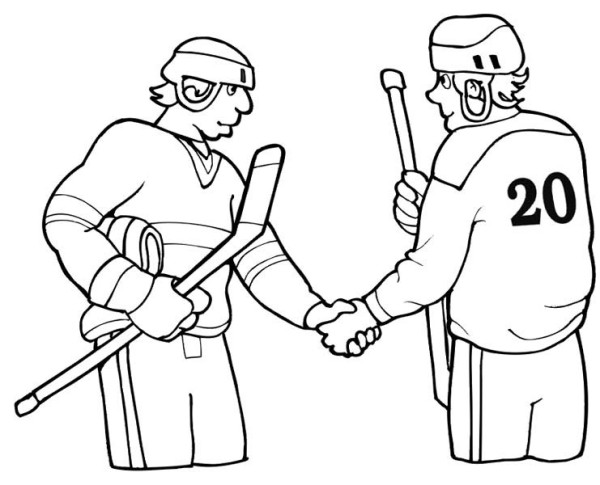 Two hockey player shaking hand coloring page netart for Hockey player coloring page