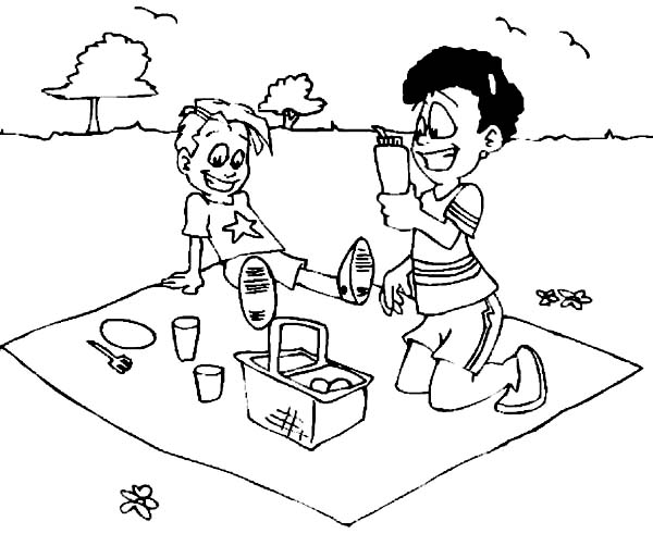 Two Kid Drink On Summer Picnic Coloring Page Netart