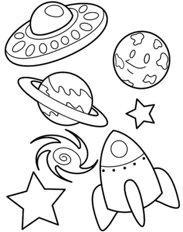 UFO Planet Galaxy and Spaceship Coloring Page - NetArt