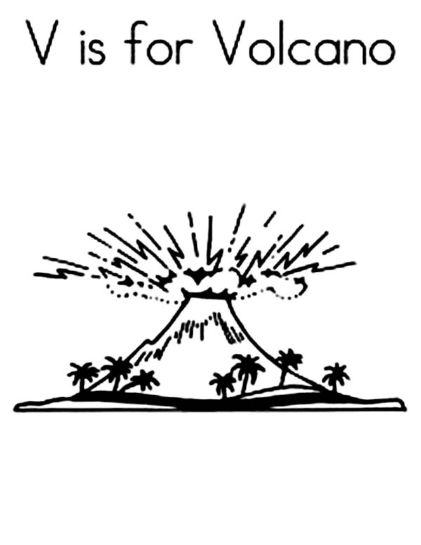 V is for Volcano Coloring Page