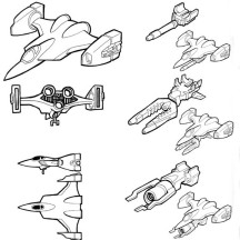 Various Type of Spaceship Coloring Page