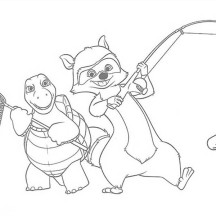 Verne with RJ the Raccoon is Going to Fishing Coloring Page