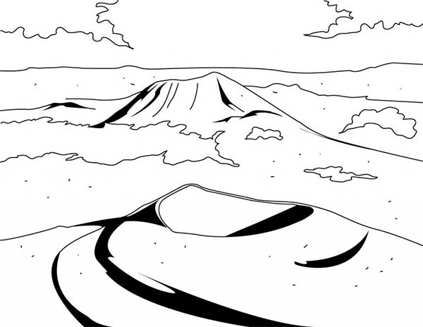 Volcano Landscape Coloring Page