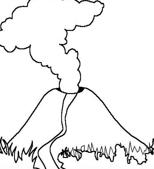 volcano with magma eruption coloring page