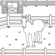 Wild Horse In The Stable Horses Coloring Page