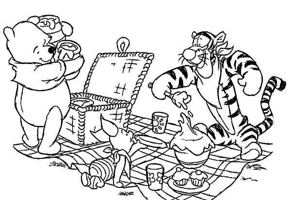 Winnie the Pooh and Friends Picnic Coloring Page NetArt