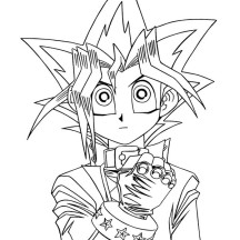 Yugi Muto Ready to Throw His Card in Yu Gi Oh Coloring Page