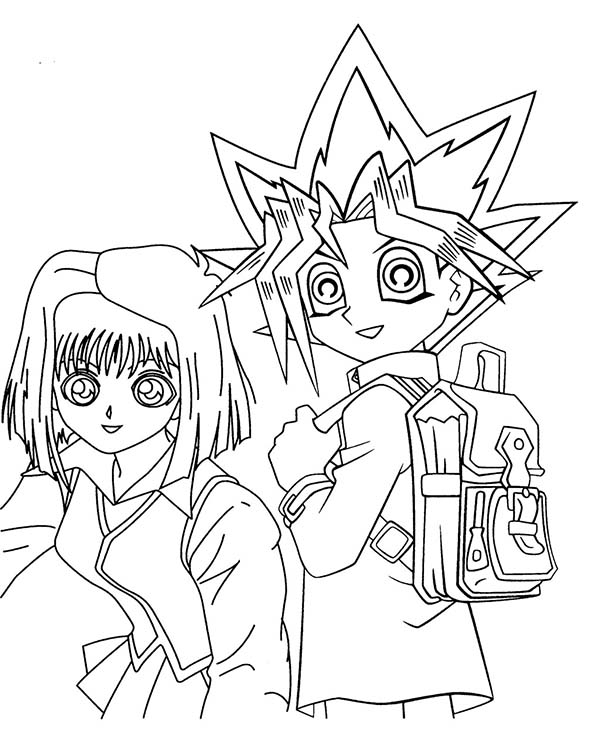 yugi muto and tea gardner from yu gi oh coloring page