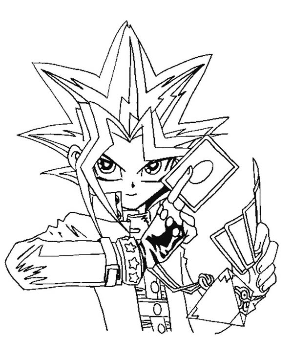 yugi muto is ready for big tournament in yu gi oh coloring page