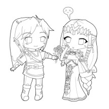 Zelink Cute Chibi Drawing Coloring Page