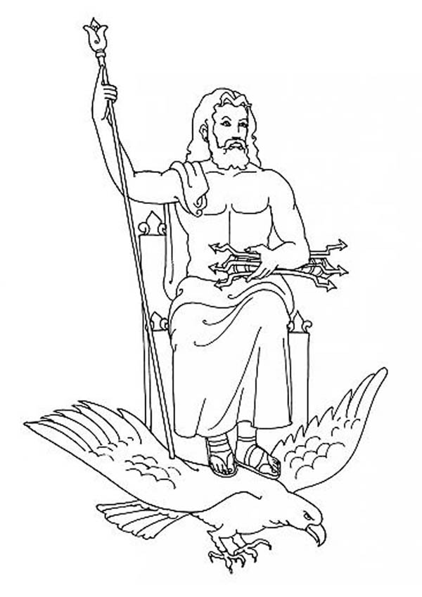 Zeus from Greek Gods and Goddesses Coloring Page