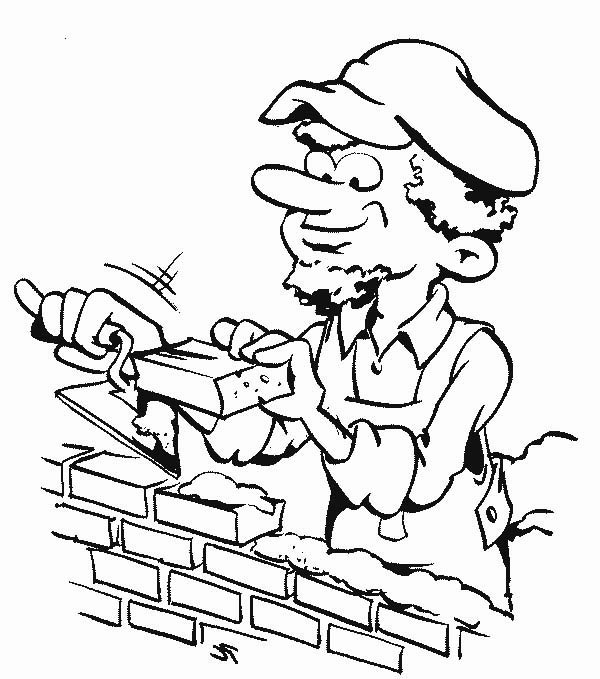 A Bricklayer Working in Community Helpers Coloring Page