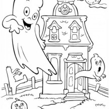 A Haunted House in Funschool Halloween Coloring Page