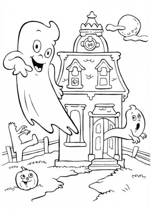 A Haunted House in Funschool Halloween Coloring Page NetArt