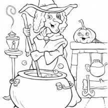 A Witch Cooking Potion in Funschool Halloween Coloring Page