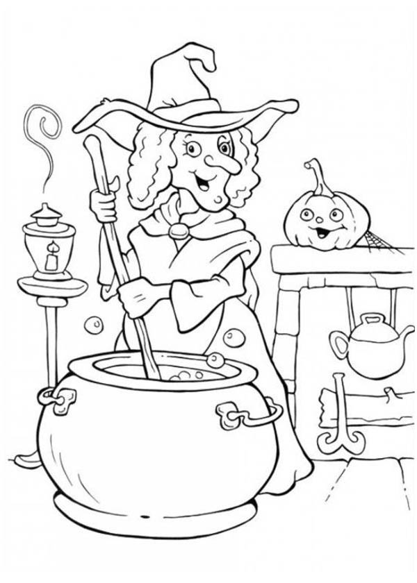 A witch cooking potion in funschool halloween coloring for Coloring pages of witches