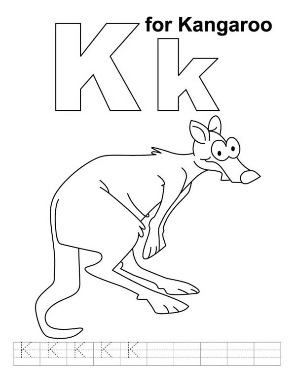k for kangaroo coloring pages - photo#9
