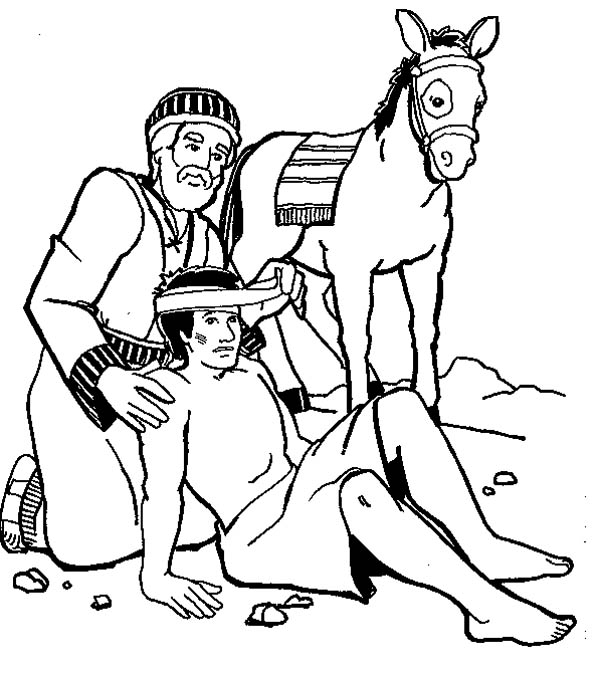 Amazing Story of Good Samaritan Coloring Page