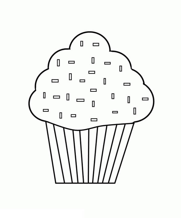 Black And White Cupcake Coloring Page