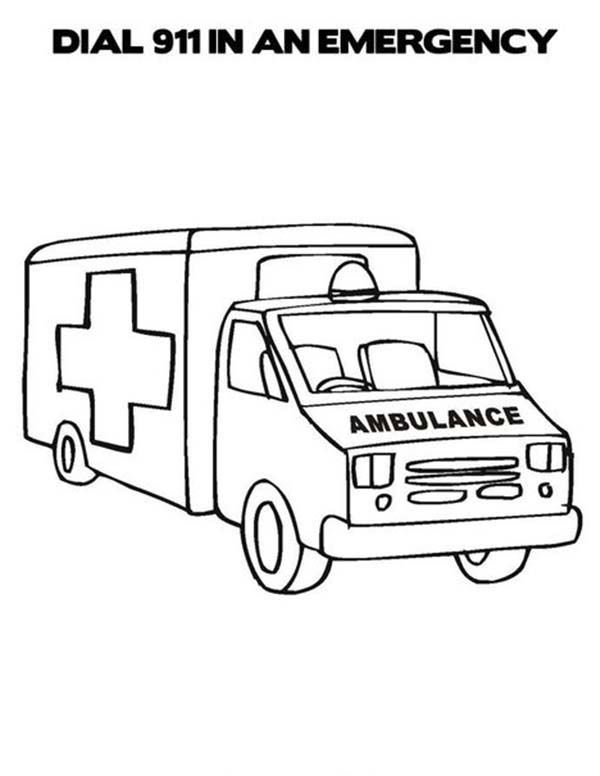 an ambulance car in community helpers coloring page - Community Helpers Coloring Pages