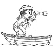 Andy Using Telescope on Boat in Raggedy Ann and Andy Coloring Page
