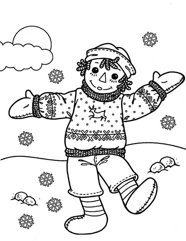 Andy is Very Happy in Raggedy Ann and Andy Coloring Page