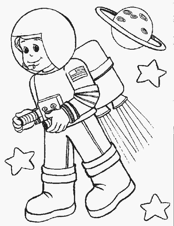Astronout in space in community helpers coloring page netart for Community helpers coloring page