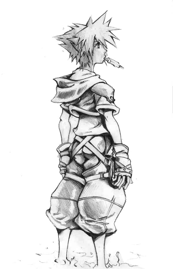 Awesome Drawing of Sora Coloring Page - NetArt