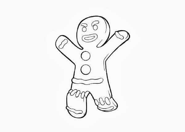 Awesome Gingerbread Man Of House Coloring Page