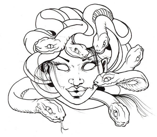 awesome medusa snake hair coloring page - Hair Coloring Pages