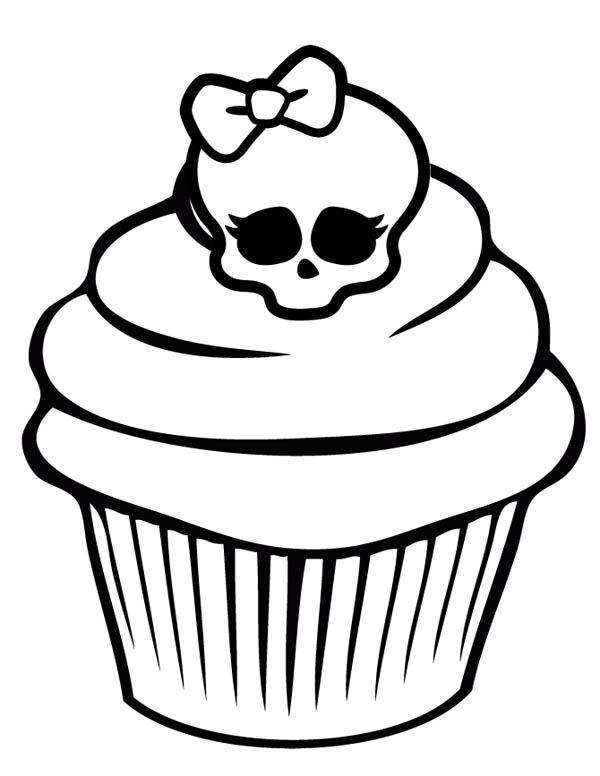 cupcakes printable coloring pages - awesome skull cupcake coloring page netart