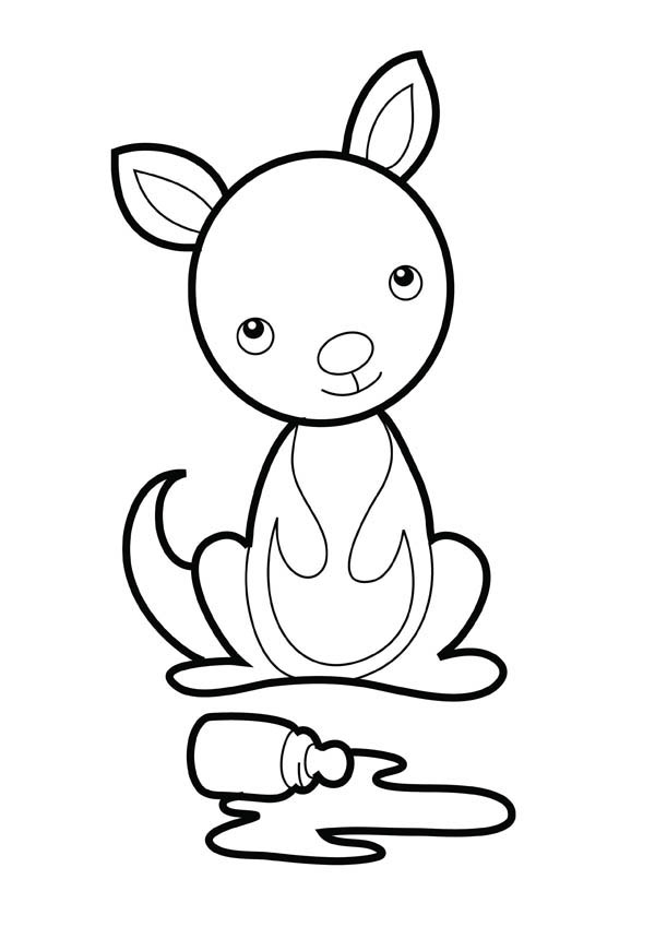 kangaroo animal coloring pages. Baby Kangaroo Coloring Page  NetArt