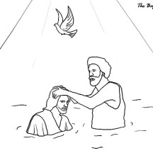 Beautiful Depiction of Jesus Baptism in John the Baptist Coloring Page
