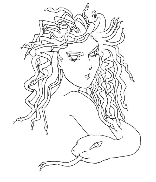 Beautiful Medusa the Gorgon Coloring Page - NetArt