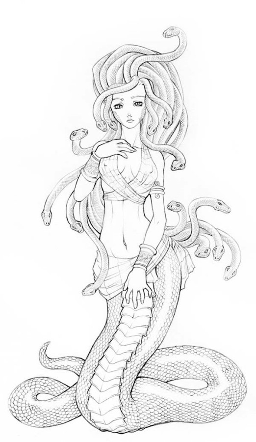 coloring pages of medusa - beautiful picture of medusa coloring page