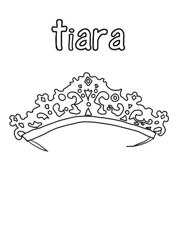 Beautiful Tiara in  Princess Crown Coloring Page
